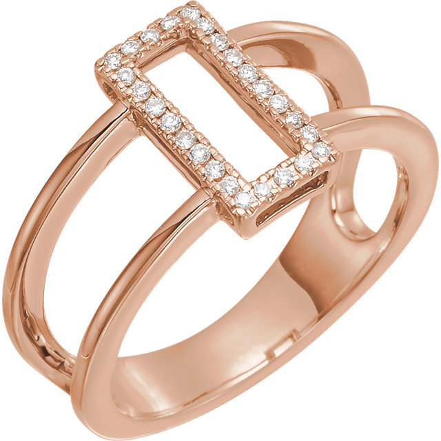 14 Karat Rose Gold .10 Carat ReCaratangle Geometric Diamond Ring