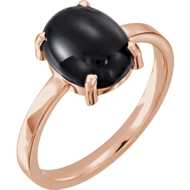 Great Gift in 14 Karat Rose Gold 10x8mm Oval Onyx Cabochon Ring