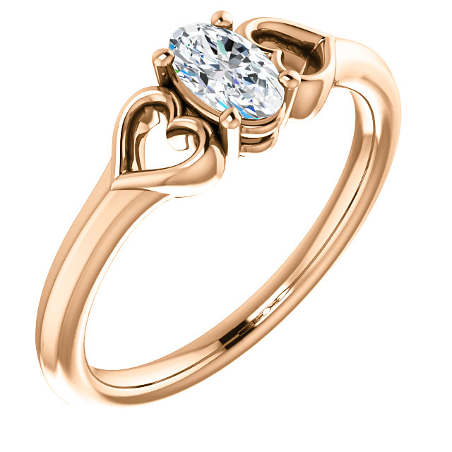 Low Price on 14 KT Rose Gold .25 Carat Diamond Youth Heart Ring