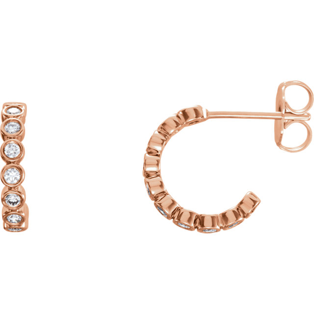 Eye Catchy 14 Karat Rose Gold 0.40 Carat Total Weight Diamond Bezel-Set J-Hoop Earrings