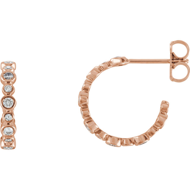 Wonderful 14 Karat Rose Gold 0.40 Carat Total Weight Diamond Bezel-Set J-Hoop Earrings