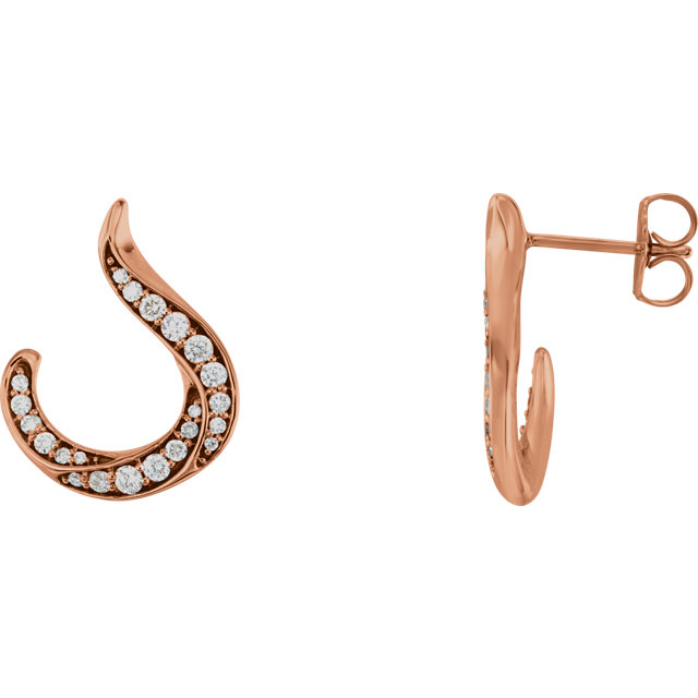 Great Gift in 14 Karat Rose Gold 0.40 Carat Total Weight Diamond Crescent Earrings