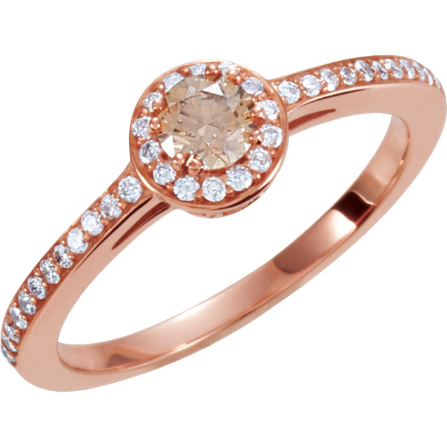 14 Karat Rose Gold 0.40 Carat Diamond Engagement Ring