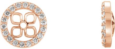 Perfect Gift Idea in 14 Karat Rose Gold 0.40 Carat Total Weight Diamond Halo-Style Earring Jackets for Pearl