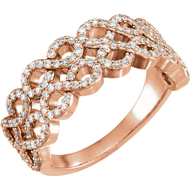 Contemporary 14 Karat Rose Gold 0.40 Carat Total Weight Diamond Infinity-Inspired Ring