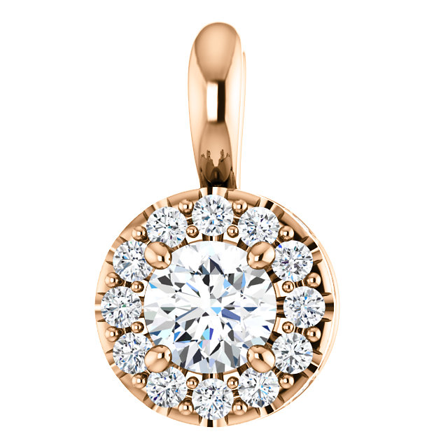 Great Buy in 14 Karat Rose Gold 0.40 Carat Total Weight Diamond Pendant