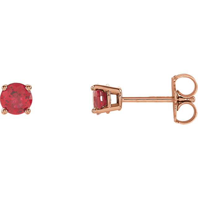 Fine Quality 14 Karat Rose Gold 4mm Round Genuine Chatham Created Created Ruby Earrings