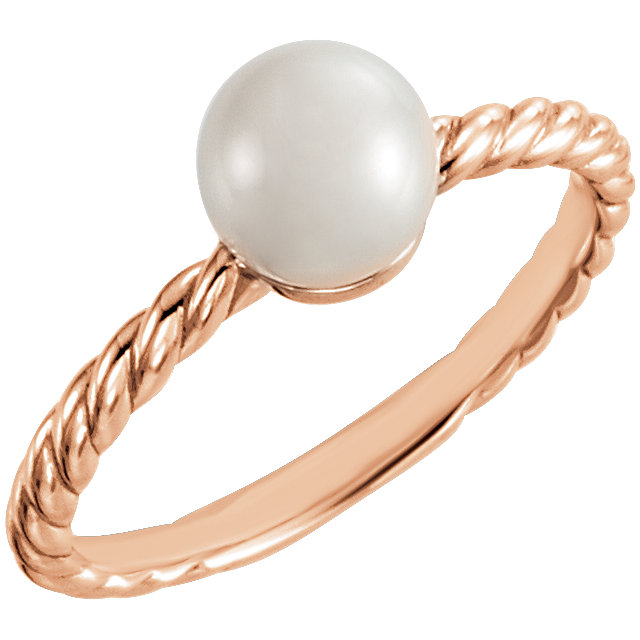 Appealing Jewelry in 14 Karat Rose Gold 5.5-6mm Freshwater Cultured Pearl Ring