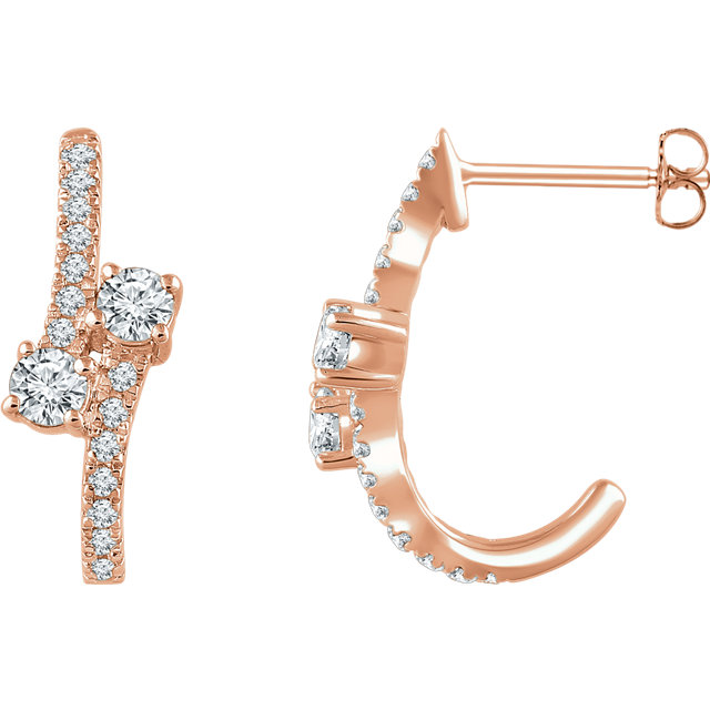 Easy Gift in 14 Karat Rose Gold 0.60 Carat Total Weight Diamond Two-Stone Earrings