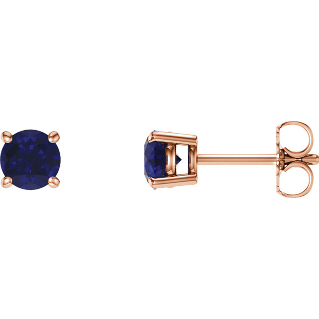 Chic 14 Karat Rose Gold 5mm Round Genuine Chatham Created Created Blue Sapphire Earrings