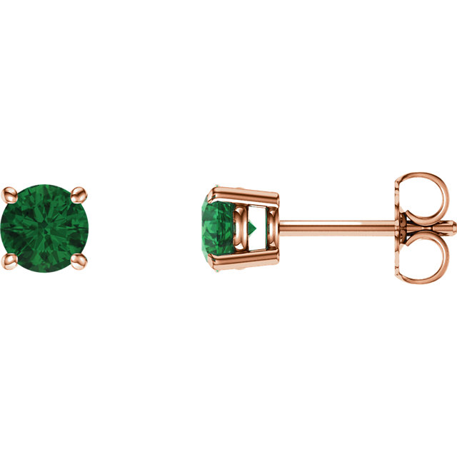 14 Karat Rose Gold 5mm Round Genuine Chatham Emerald Earrings