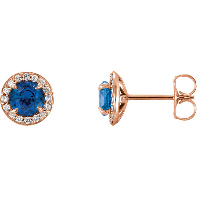 Great Deal in 14 Karat Rose Gold 5mm Round Genuine Chatham Created Created Sapphire & 0.17 Carat Total Weight Diamond Earrings