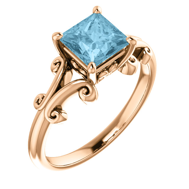 Chic 14 Karat Rose Gold 6mm Round Aquamarine Ring
