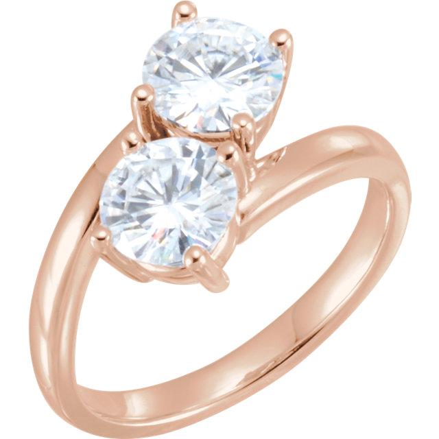 Great Deal in 14 Karat Rose Gold 6mm Round Genuine Charles Colvard Forever One Moissanite Ring