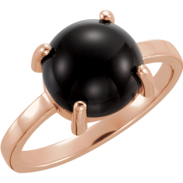 Contemporary 14 Karat Rose Gold 6mm Round Onyx Cabochon Ring