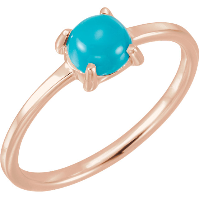 Great Buy in 14 Karat Rose Gold 6mm Round Turquoise Cabochon Ring