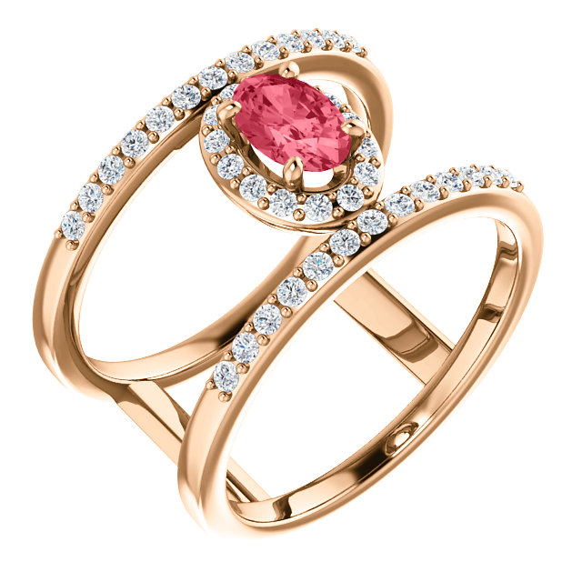 Perfect Jewelry Gift 14 Karat Rose Gold 6x4mm Oval  Pink Spinel & 0.33 Carat Total Weight Diamond Ring