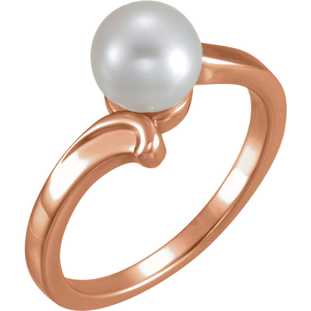Chic 14 Karat Rose Gold 7mm Solitaire Ring for Pearl