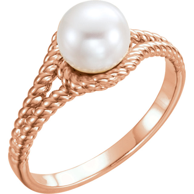 Low Price on Quality 14 KT Rose Gold 7mm White Freshwater Pearl Rope Ring