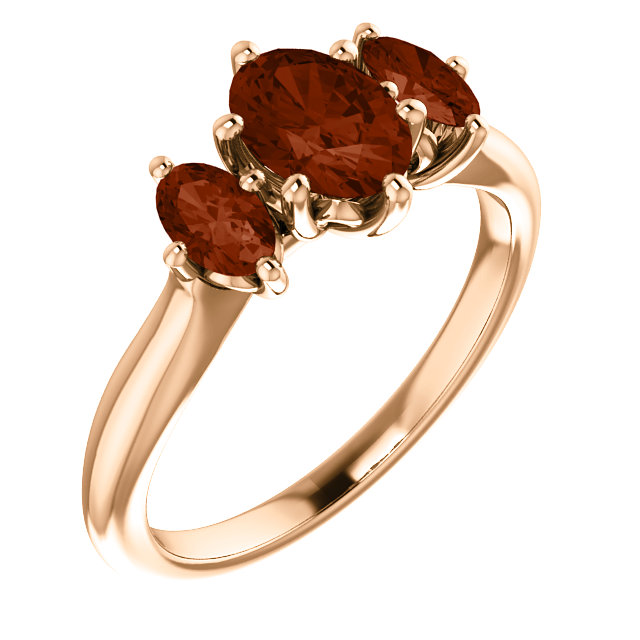 Great Deal in 14 Karat Rose Gold 7x5mm Oval Garnet Ring