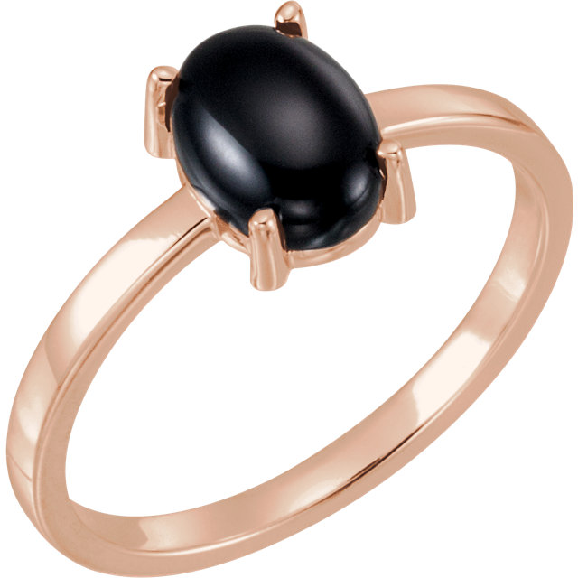 Chic 14 Karat Rose Gold 9x7mm Oval Onyx Cabochon Ring