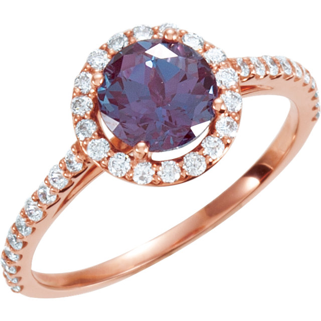 14 Karat Rose Gold Alexandrite & 0.40 Carat Diamond Ring