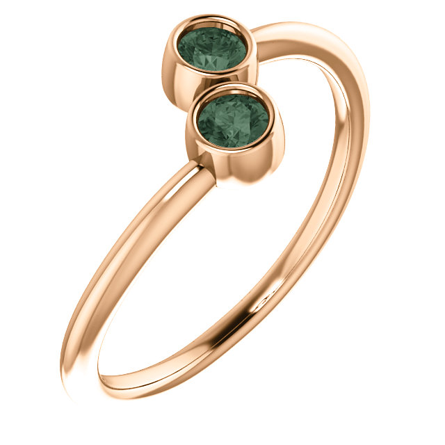 Easy Gift in 14 Karat Rose Gold Alexandrite Two-Stone Ring