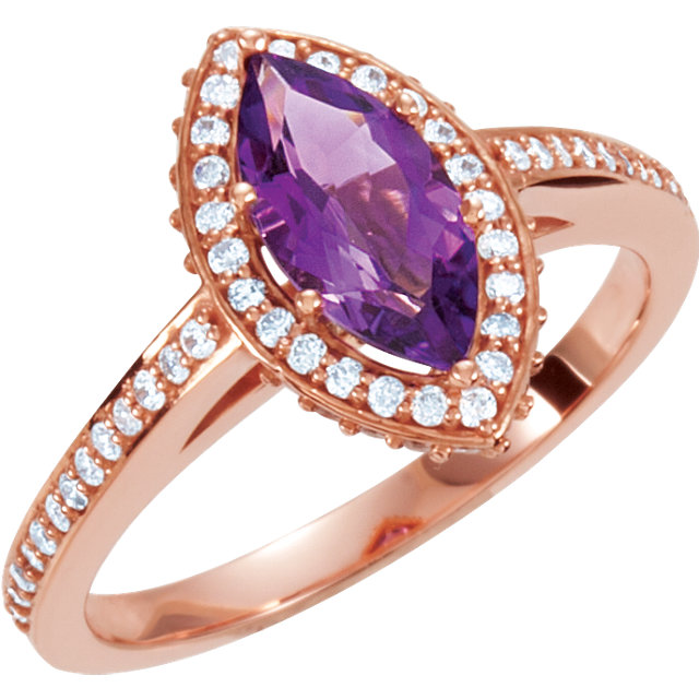 Genuine 14 Karat Rose Gold Amethyst & 0.33 Carat Diamond Ring
