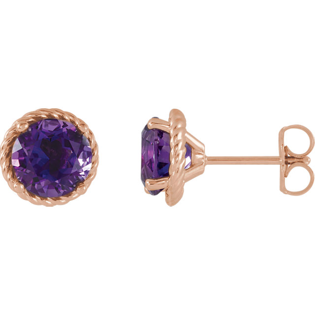 Shop 14 KT Rose Gold Amethyst Rope Earrings