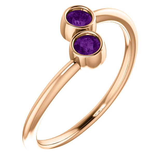 Stunning 14 Karat Rose Gold Amethyst Two-Stone Ring
