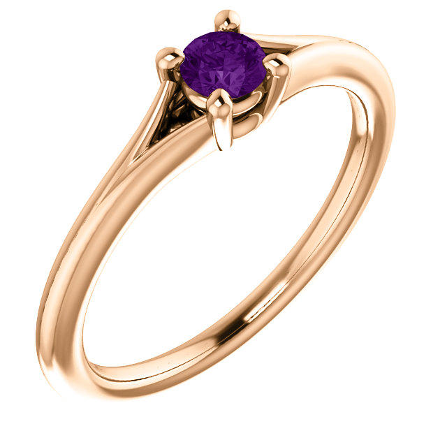 Fine Quality 14 Karat Rose Gold Amethyst Youth Ring
