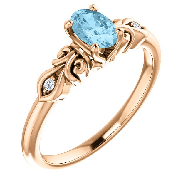 Great Deal in 14 Karat Rose Gold Aquamarine & .02 Carat Total Weight Diamond Ring