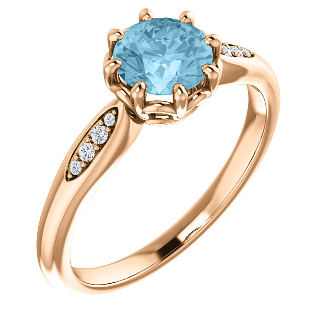 Easy Gift in 14 Karat Rose Gold Aquamarine & .04 Carat Total Weight Diamond Ring