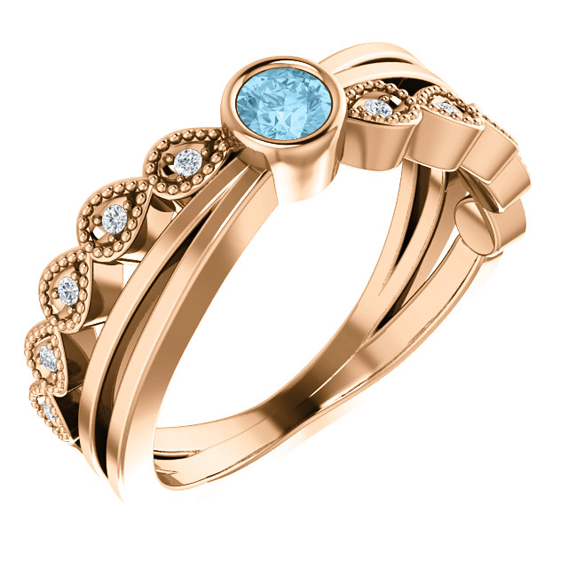 Perfect Jewelry Gift 14 Karat Rose Gold Aquamarine & .05 Carat Total Weight Diamond Ring