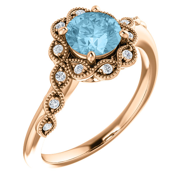 Surprise Her with  14 Karat Rose Gold Aquamarine & .07 Carat Total Weight Diamond Ring