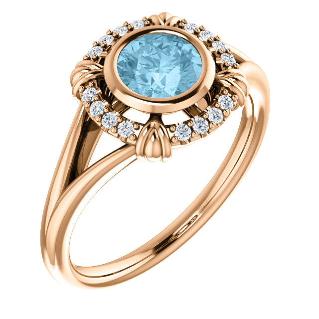 Beautiful 14 Karat Rose Gold Aquamarine & .08 Carat Total Weight Diamond Ring