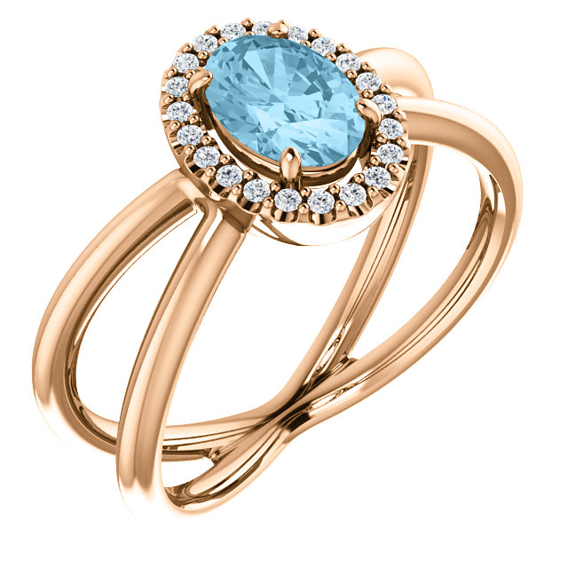 Gorgeous 14 Karat Rose Gold Aquamarine & 0.10 Carat Total Weight Diamond Ring
