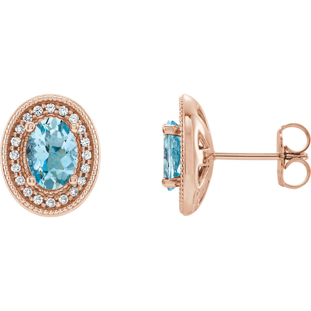 Chic 14 Karat Rose Gold Aquamarine & 0.20 Carat Total Weight Diamond Halo-Style Earrings