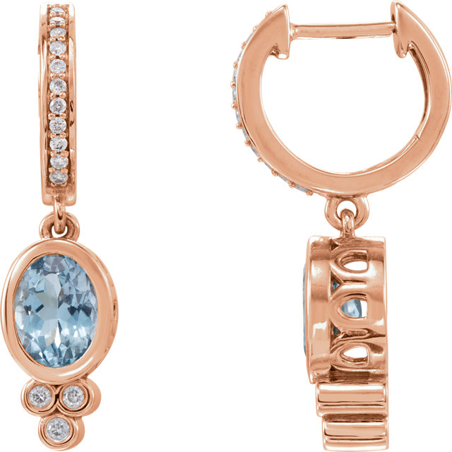 Great Gift in 14 Karat Rose Gold Aquamarine & 0.17 Carat Total Weight Diamond Earrings