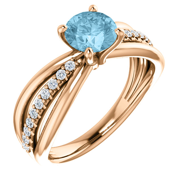 Stunning 14 Karat Rose Gold Aquamarine & 0.17 Carat Total Weight Diamond Ring