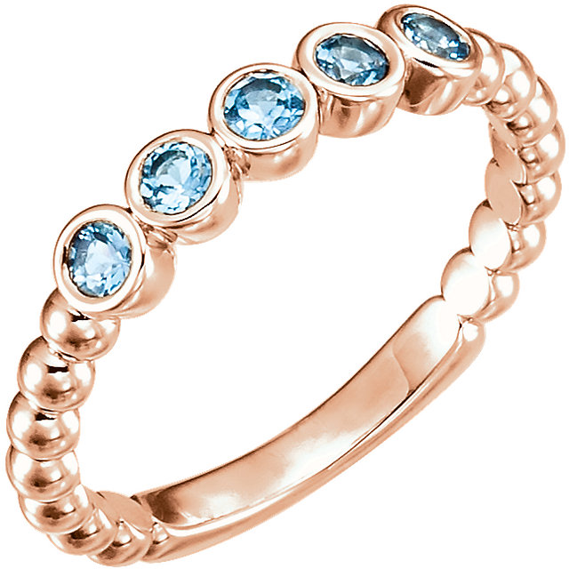Contemporary 14 Karat Rose Gold Aquamarine Bezel-Set Beaded Ring
