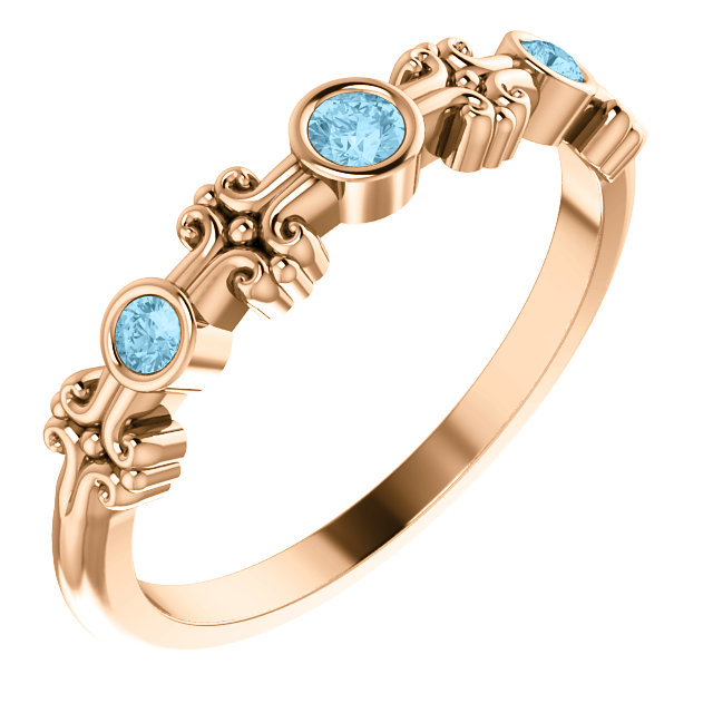 Wonderful 14 Karat Rose Gold Aquamarine Bezel-Set Ring