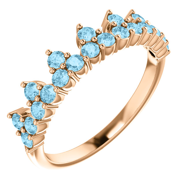 Eye Catchy 14 Karat Rose Gold Aquamarine Crown Ring