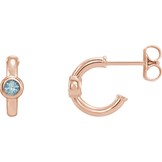 Gorgeous 14 Karat Rose Gold Aquamarine J-Hoop Earrings