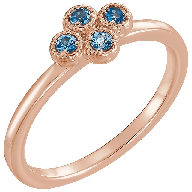 Great Gift in 14 Karat Rose Gold Aquamarine Ring