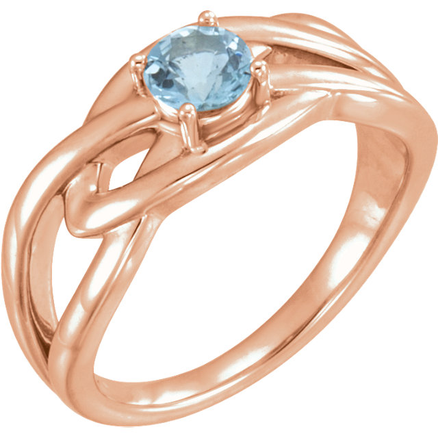 Chic 14 Karat Rose Gold Aquamarine Ring