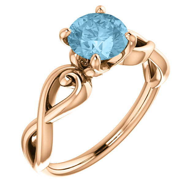 Must See 14 Karat Rose Gold Aquamarine Ring