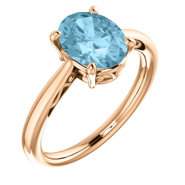 Fine Quality 14 Karat Rose Gold Aquamarine Ring
