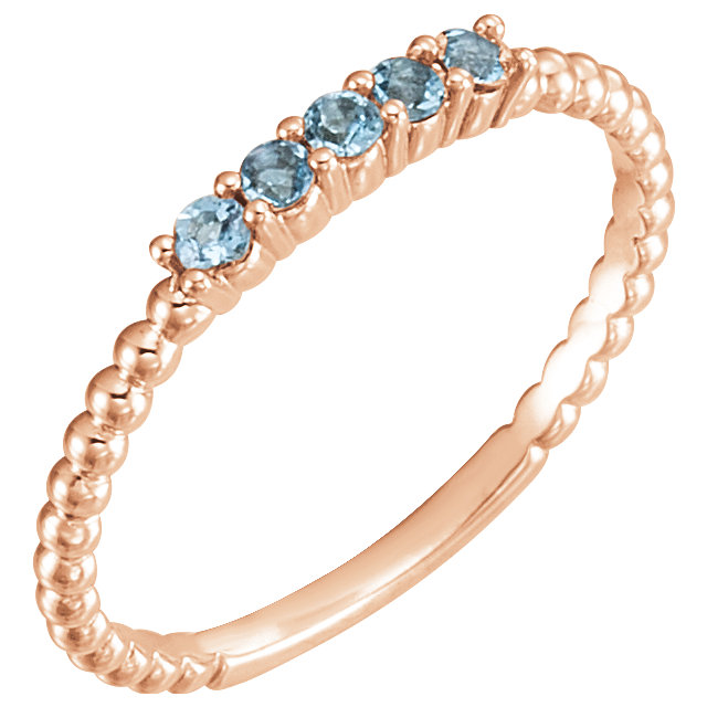 Perfect Gift Idea in 14 Karat Rose Gold Aquamarine Stackable Ring