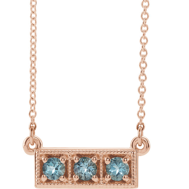 Wonderful 14 Karat Rose Gold Aquamarine Three-Stone Granulated Bar 16-18